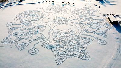 A giant snow drawing created by 11 snowshoe-clad volunteers in Espoo, outside Helsinki, Finland.