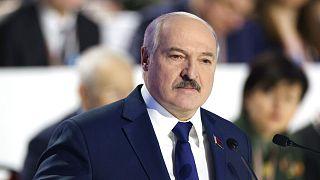 Belarusian President Alexander Lukashenko delivers his speech to delegates of the All-Belarus People's Assembly in Minsk, Belarus, Thursday, Feb. 11, 2021.