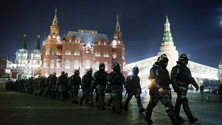 Servicemen of the Russian National Guard gathered at the Red Square in Moscow on 2 February.