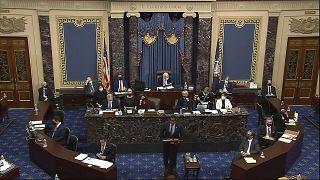 المحاكمة الثانية لعزل الرئيس السابق دونالد ترامب في مجلس الشيوخ في مبنى الكابيتول بواشنطن.