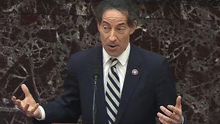 Jamie Raskin, chef des procureurs démocrates, s'exprimant lors du procès de mise en accusation de Donald Trump au Sénat, le jeudi 11 février 2021.
