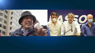 El candidato indígena Yaku Pérez, a la izquierda, y el conservador, Guillermo Lasso, a la derecha.