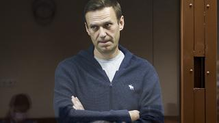Alexei Navalny during a hearing on charges of defamation in the Babuskinsky District Court in Moscow, Russia on  Feb. 12, 2021.