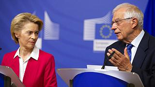 European Commission President Ursula von der Leyen, left, and European Union foreign policy chief Josep Borrell
