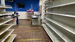 Empty shelves at Stonemanor, a British supermarket in Belgium