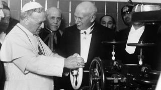 Pope Pius XI at the inauguration of the new wireless installation at the Vatican City, Rome, Italy on Feb. 9, 1931.
