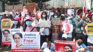 تظاهرات علیه کودتا در میانمار