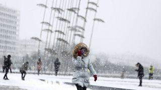 Χιονόπτωση στο κέντρο της Θεσσαλονίκης μετά το «χτύπημα της Μήδειας»