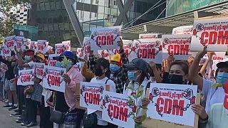Protesta en Rangún, Birmania