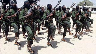 تمرین نظامی نیروهای گروه الشباب در ۱۸ کیلومتری جنوب موگادیشو، سومالی