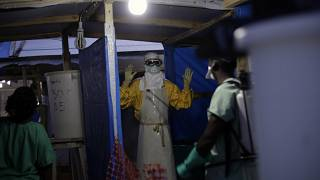 Archive : un soignant de MSF à Gueckedou, en Guinée, le 20 novembre 2014.