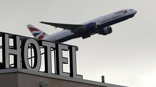A plane takes off from Heathrow Airport in London