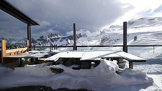 "In this Friday, Jan. 29, 2021 file photo, a view of the closed hut ""Rifugio Scoiattoli"" in Cortina D'Ampezzo, Italy."