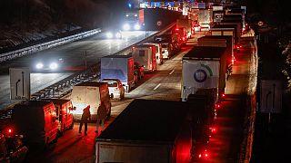 Deutsche Grenze zu Tschechien - mit langen LKW-Staus