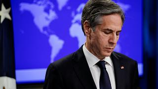 Secretary of State Antony Blinken pauses as he speaks to reporters during a press briefing at the State Department in Washington, Wednesday, Jan. 27, 2021.