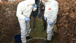 Bomberos franceses toman una muestra de aguas residuales sumergiendo una canícula en una alcantarilla.