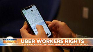 User ordering Uber on mobile phone