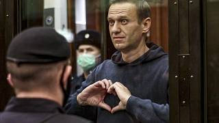Russian opposition leader Alexei Navalny in the Moscow City Court in Moscow, Russia on Feb. 3, 2021.