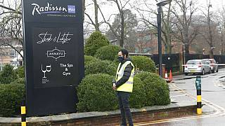 Radisson Blu Edwardian Hotel, near Heathrow Airport, London, Feb. 15, 2021 where people from flights arriving at Heathrow airport will remain during a 10 day quarantine.