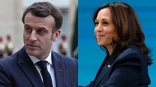 French President Emmanuel Macron, left. US Vice President Kamala Harris, right.