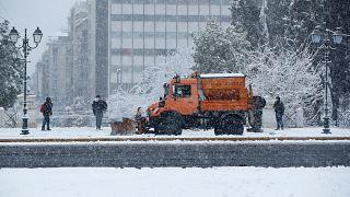 Athens center snow