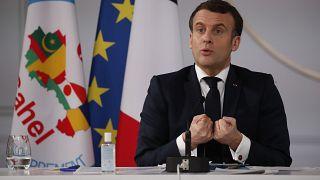 الرئيس الفرنسي يلقي كلمته انطلاقا من باريس إثر اجتماع عبر الفيديو مع قادة دول الساحل الخمس. 2021/02/16