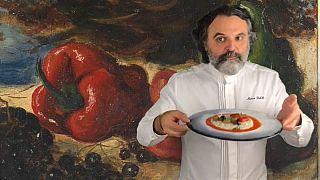 Lo chef Marco Stabile interpreta un'opera di Giorgio De Chirico.