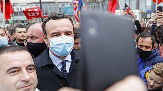 Albin Kurti, center, candidate for prime minister, in capital Pristina, Kosovo, on Thursday, Feb. 4, 2021.