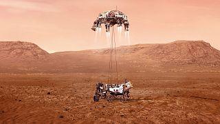 Illustration de la manouvre d'atterrissage de Perseverance sur Mars