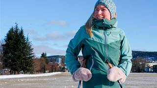 Skiläuferin in Oslo