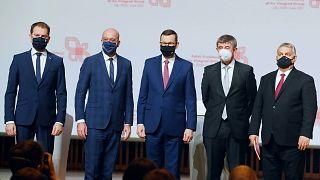 A V4-országok vezetői és Charles Michel, az Európai Tanács elnöke Krakkóban