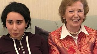 In this Dec. 15, 2018 photo Sheikha Latifa bint Mohammed Al Maktoum meets Mary Robinson, a former United Nations High Commissioner for Human Rights.