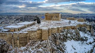 The Athens Acropolis has been covered in snow
