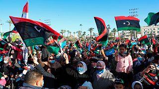 حشود في العاصمة الليبية، طرابلس، لإحياء الذكرى العاشرة لسقوط نظام معمر القذافي