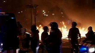 Protesta en Barcelona contra la detención de Pablo Hasél