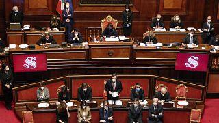 ماريو دراغي في مجلس الشيوخ في روما قبيل التصويت على منح الثقة. 2021/02/17