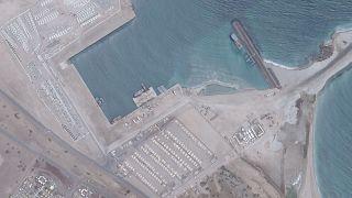 صورة عبر الأقمار الاصطناعية تظهر ما يبدو أنه القاعدة العسكرية الإماراتية في مدينة عصب في  إريتريا. 2019/06/12