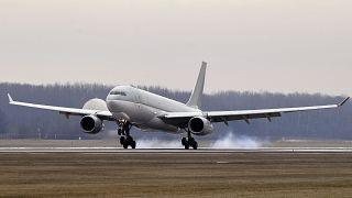 An Airbus 330 plane transporting coronavirus vaccines in Hungary. February 2021