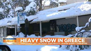 Roof covered in heavy snow in Greece