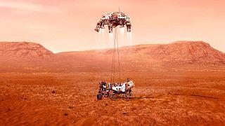 تصویرسازی از فرود «پشتکار» بر روی سطح کره مریخ