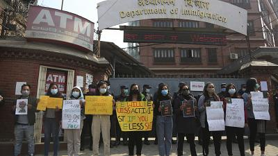 Hundreds of women in Nepal are protesting against a new travel ban.