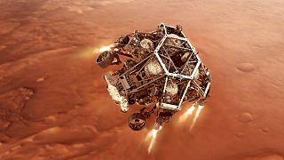 Ilustración de la llegada a Marte de Perseverance. Para que llegue con éxito debe producirse una coreografía milimetrada