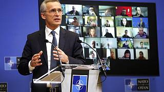 NATO Secretary General Jens Stoltenberg speaks during a media conference in Brussels