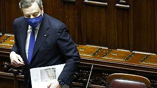 Mario Draghi, dans la chambre basse du Parlement, à Rome, le 18 février 2021