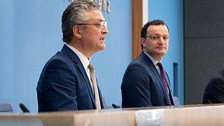 RKI-Chef Wieler und Gesundheitsminister Spahn heute beim Corona-Briefing.