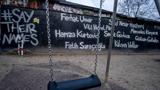 The names of the nine victims of the Hanau shootings are displayed.