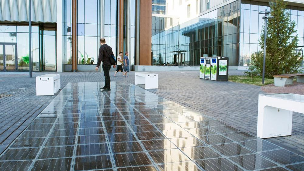 This solar-powered pavement harvests energy from under your feet