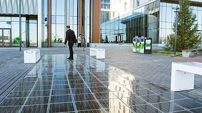 These solar panels are partially made from waste
