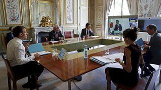 الرئيس الفرنسي إيمانويل ماكرون مشاركاً في قمة مجموعة السبع في 2020