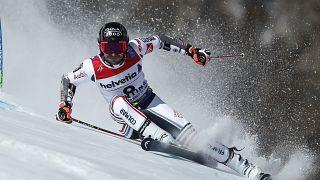 Mathieu Faivre sacré champion du monde de slalom géant à Cortina d'Ampezzo (Italie), le 19/02/2021